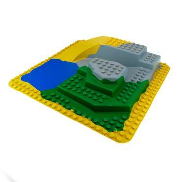 1 x Lego Duplo 3D Platte 24x24 Noppen gelb grün grau blau Rampe  Felsen Zoo Safari Park Wasser See 9160 9190 2669 2668 2295