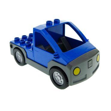 1 x Lego Duplo Auto blau neu-dunkel grau Transporter Werkstatt Wagen Lastwagen Pickup 47438c01