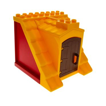 1 x Lego brick Bright Light Orange Duplo Building Barn Roof Section 8 x 8 x 8 with Door Opening with 2 Red Duplo Building Roof Support and Reddish Brown Duplo Door for Set 4665 9227 4975 51288 51383 51384c01
