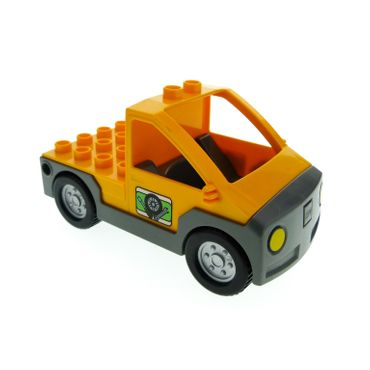 1 x Lego brick Bright Light Orange Duplo Truck Pickup Flatbed with Dark Bluish Gray Base with Tire and Tools Pattern 4284967 47438c01pb02