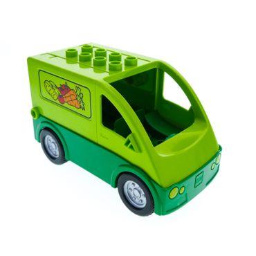 1 x Lego Duplo Transporter lime hell grün Auto Lastwagen bedruckt mit Gemüse Lieferwagen für Set Markt Stand 5683 1406c03pb01