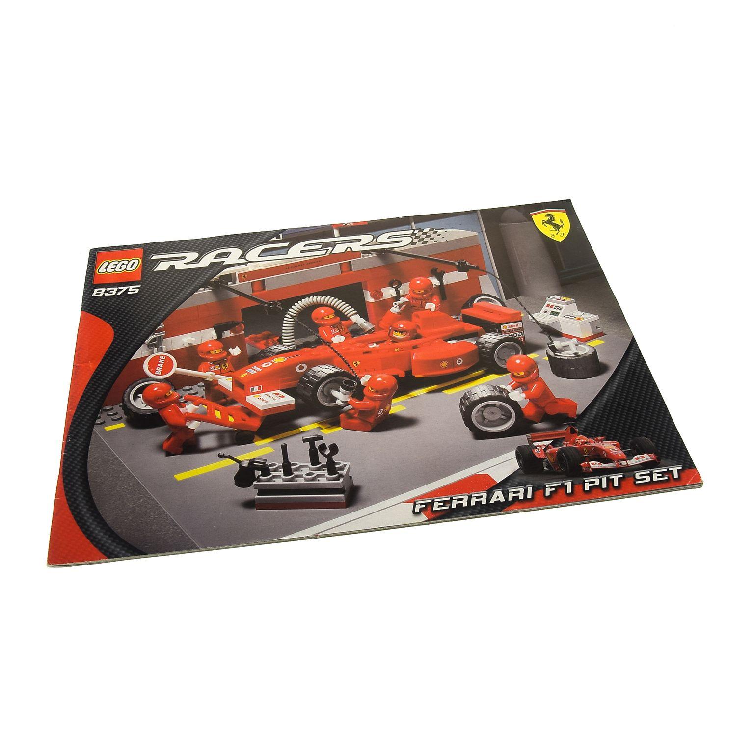 1 x lego system bauanleitung a4 racers ferrari f1 pit boxen stop rennwagen set 8375. Black Bedroom Furniture Sets. Home Design Ideas