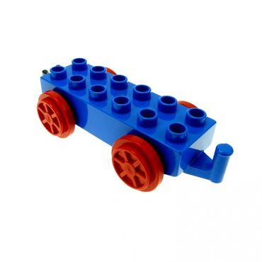 1 x Lego Duplo Schiebe Lok  Anhänger blau rot 2 x 6 2x6 Eisenbahn Zug für Waggon Haken schwarz 4559c01
