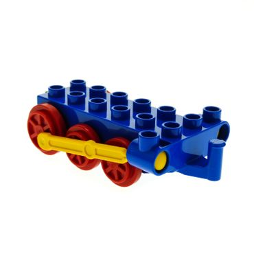 1 x Lego brick Blue Duplo Train Steam Engine Chassis with Yellow Drive Rod 4580c01