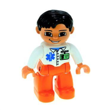 1 x Lego Duplo Figur Mann Arzt Doktor Hose orange Jacke weiss mit ID Ausweis und EMT Logo Haare schwarz Augen braun 47394pb086