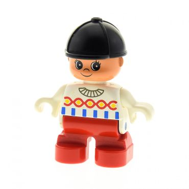 1 x Lego brick Duplo Figure Child Type 2 Girl Red Legs White Decorated Top Black Riding Hat Set 9149 6453pb014