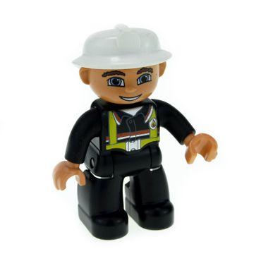 1 x Lego Duplo Figur Mann Feuerwehrmann Hose Jacke schwarz Hosenträger gelb Helm weiss Augen blau Feuerwehr 47394pb122