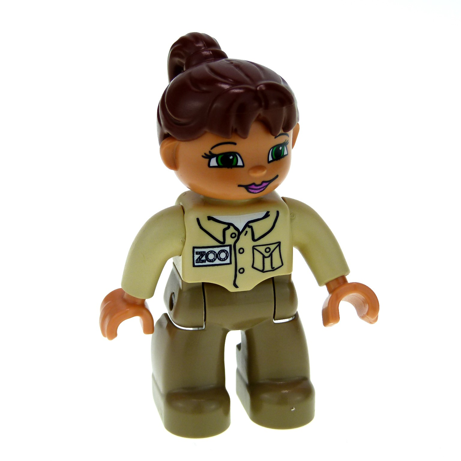 1 x lego duplo figur frau mutter hose dunkel beige jacke beige haare zopf braun zoo w rterin f r. Black Bedroom Furniture Sets. Home Design Ideas