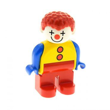 1 x Lego Duplo Figur Mann Clown Hose rot Hemd gelb Arme blau Haare lockig Zirkus Kanone 4555pb259