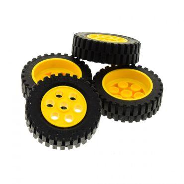 4 x Lego Technic Rad gelb schwarz 30mm D. x 13mm Felge Räder 13x24 Technik Auto Fahrzeug Felge Model Team 2696 2695c01