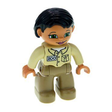 1 x Lego Duplo Figur Frau Mutter Hose dunkel beige Jacke beige Haare schwarz Zoo Wärterin für Puppenhaus Tierpfleger 47394pb116