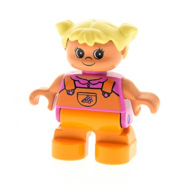 1 x Lego brick Duplo Figure Child Type 2 Girl Orange Legs Dark Pink Top with Orange Overalls with Flower Yellow Hair Pigtails 6453pb020