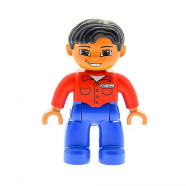 1 x Lego brick  Duplo Figure Lego Ville Male Blue Legs Red Shirt with Pockets and Name Tag Black Hair Brown Eyes Flesh Hands 47394pb113