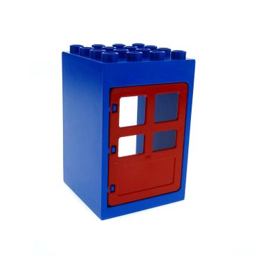 1 x Lego brick blue Duplo Building Door Frame / Entryway 4 x 4 x 5 red Duplo Door 1 x 4 x 4 with Four Panes 6360 2205