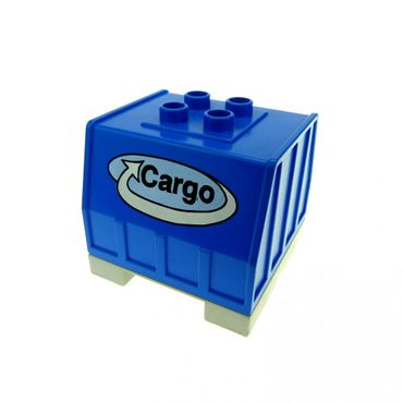 1 x Lego brick Blue Duplo Train Freight Container with Bottom Rails with Cargo Logo Pattern (Intelli-Train) 9125 42400