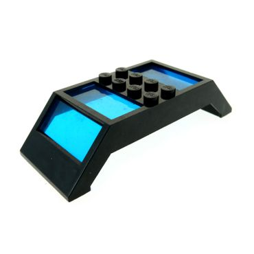 1 x Lego brick Black Window 4 x 10 x 2 Roof Slope Double Complete Assembly Trans-Dark Blue Glass Set 6478 30343c01