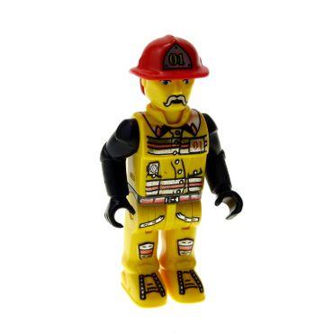 1 x Lego System Figur 4 Juniors Jack Stone Feuerwehr Mann Nr 1 Jacke gelb schwarz Helm rot #01 (Flamme Rückseite) 4609 4601 4621 4657 js001