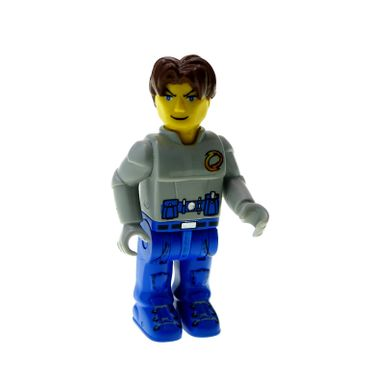 1 x Lego brick  Minifigs 4 Juniors Figure Jack Stone - Gray Jacket Blue legs 4607 4605 4622 js004