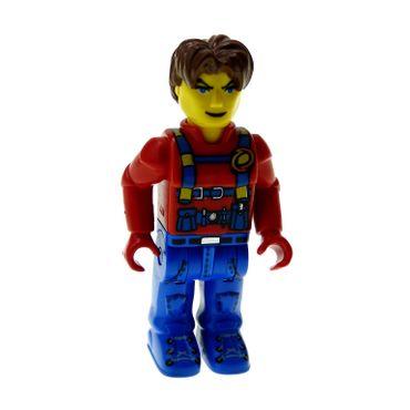 1 x Lego System Figur 4 Juniors Jack Stone Mann Jacke rot Hose blau Haare braun Hauptquartier der Küstenwache 4610 js015