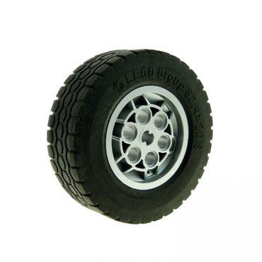 1 x Lego Technic Rad schwarz Technik Reifen Felge metallic silber grau 62.4x20 S Auto Fahrzeug Set 8285 (32020 / 32019) 32020c01