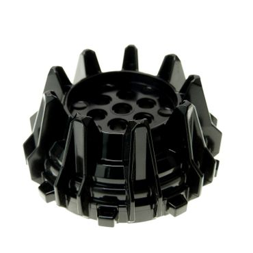 1 x Lego brick Black Wheel Hard Plastic with Small Cleats and Flanges 4538782 64712