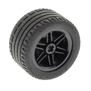 1 x Lego brick black Wheel 30.4mm D. x 20mm with No Pin Holes and Reinforced Rim with Black Tire 43.2 x 22 ZR (56145 / 44309) 56145c01