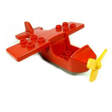 1 x Lego Duplo Flugzeug Top rot Base alt-dunkel grau klein Propeller gelb Passenger Aircraft 2159c05