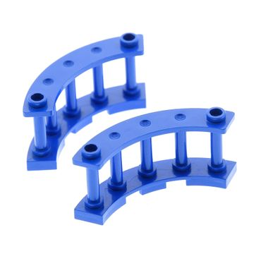 2 x Lego bricks blue Fence Spindled 4 x 4 x 2 Quarter Round 7074 4294564 30056