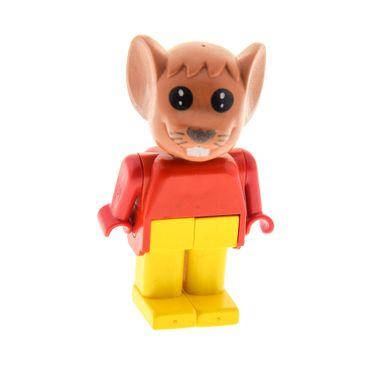 1 x Lego Fabuland Figur Tier Maus 1 fabuland braun Maximillian Torso rot Beine gelb Mouse Set 3781 3671 fab9a