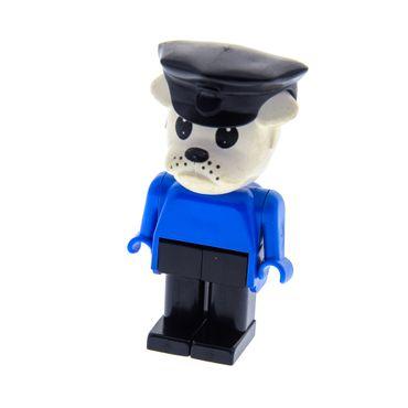 1 x Lego Fabuland Figur Tier Hund Bulldogge 2 weiss Polizist Torso blau Beine schwarz Polizei Hut 3639 3789 3664 3643 fab2b