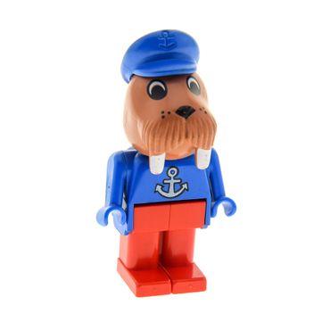 1 x Lego System Fabuland  Figur Tier Walross 3 fabuland braun Kapitän Walrus Torso blau mit Anker bedruckt Beine rot Set 3680 3633 3646 fab12g