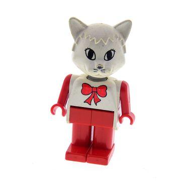 1 x Lego Fabuland Figur Tier Katze 4 weiß Cathy rot Torso weiss mit Schleife Beine rot 3623 3646 3676 fab3h