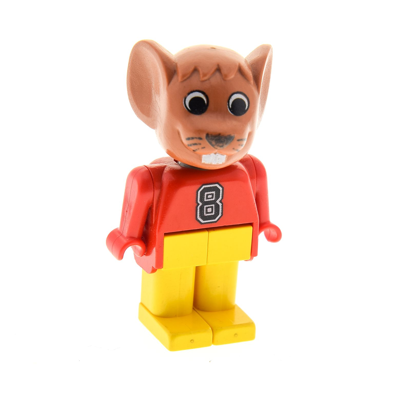 1 X Lego Brick Fabuland Figure Mouse 2 Maxi Brown Red Printed Whit 8