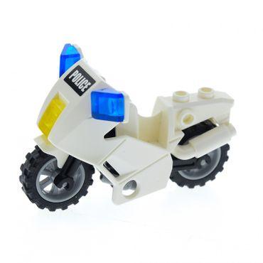 1 x Lego System  Motorrad weiß mit Police Aufkleber schwarz Version Motorcycle Polizeimotorrad Set 7235 7237 52035c01pb06