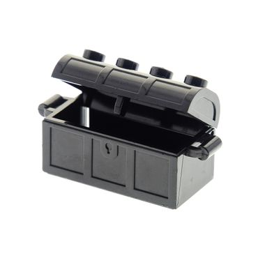 1 x Lego brick black Container Treasure Chest Complete Assembly - Undetermined Hinge and Back Type 6101166 4738ac01 4739 4738a