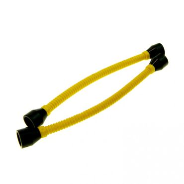2 x Lego brick Yellow Hose Flexible 8.5 L with Tabless Ends Black ( Ends different color than Tube ) 73590c01b