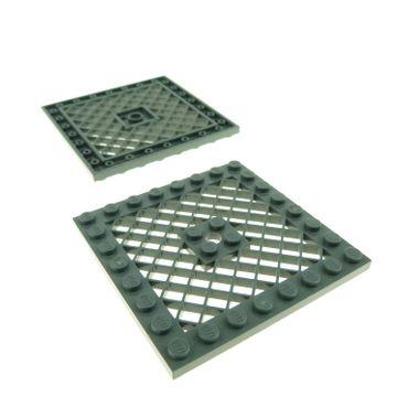 2 x Lego System Schutz Gitter Platte neu-dunkel grau 8x8 Bodenplatte mit Loch Gatter Castle Star Wars 4151b