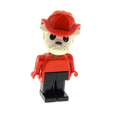 1 x Lego Fabuland Figur Tier Hund Bulldogge 8 Buster Feuerwehr Mann Torso rot Beine schwarz Helm 3638 3642 fab2h
