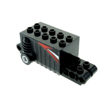 1 x Lego brick Technic black Pullback Motor 9 x 4 x 2 2/3 with Red White and Black Pattern on Both Sides (Stickers) - Set 8381 47715pb04