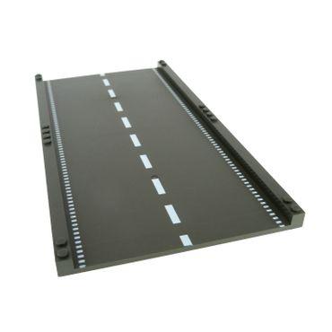 1 x Lego System Fahrbahn Platte alt-dunkel grau 32x16 Straße gerade mit Markierung Road Highway Construction 6600 30401px1
