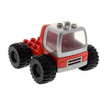 1 x Lego Duplo LKW rot silber grau Kipp Laster Auto Kabine silber grau Lastwagen Zugmaschine Reifen schwarz groß Set 3613 31077 dupconcar
