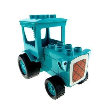 1 x Lego brick Dark Turquoise Duplo Tractor 'Travis' Complete Assembly 52065 dtravisc01