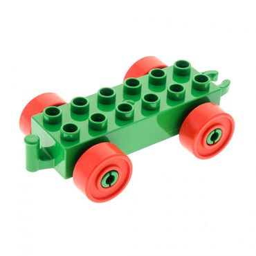 1 x Lego brick green Duplo Car Base 2 x 6 with red Wheels and Open Hitch End 2312c02