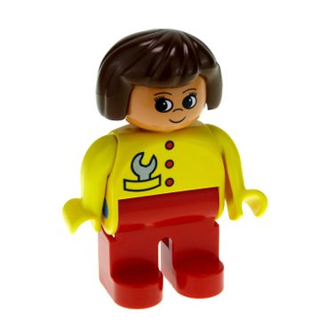 1 x Lego brick Duplo Figure Female Red Legs Yellow Top with Red Buttons & Wrench in Pocket Brown Hair Turned Up Nose 4555pb248