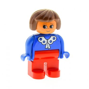 1 x Lego brick Duplo Figure Female Red Legs Blue Blouse with White Lace Trim Brown Hair 4555pb089