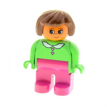 1 x Lego brick Duplo Figure Female Dark Pink Legs Medium Green Blouse with Heart Buttons Brown Hair 4555pb097