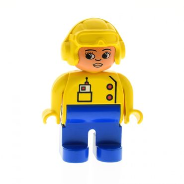 1 x Lego brick Duplo Figure Female Blue Legs Yellow Top with Radio in Pocket Yellow Aviator Helmet Eyelashes 4555pb107