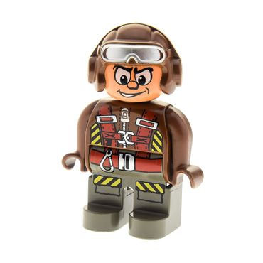 1 x Lego brick Duplo Figure , Male Action Wheeler , Dark Gray Legs , Brown Top with Parachute Straps , Brown Helmet with Goggles 4555pb153
