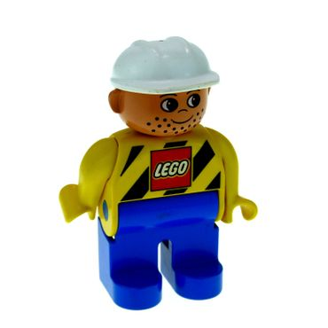 1 x Lego brick Duplo Figure Male Blue Legs Yellow Top with Black Stripes and Lego Logo Construction Hat White 4555pb038