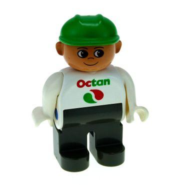 1 x Lego Duplo Figur Mann Tankwart Hose alt-dunkel grau Oberteil weiß mit Octan logo Bauarbeiter Helm grün 4555pb056